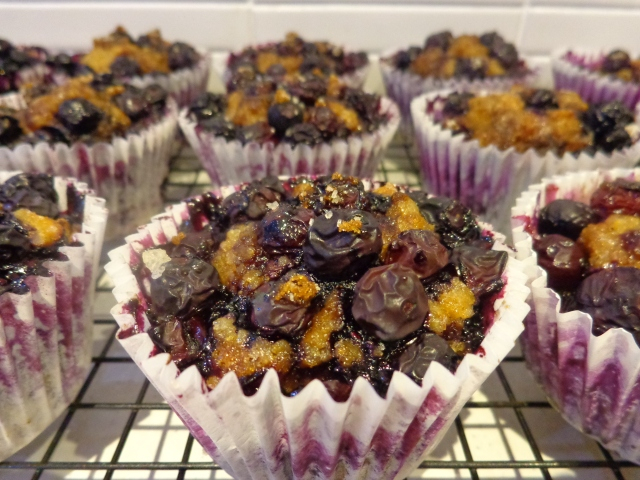 Love the contrast from the crunchy blueberry topping and the moist dense muffin